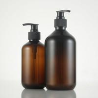 ingrosso bottiglie di animali marroni-(10pcs) bottiglia di lozione di plastica marrone vuota di 300ml / 500ml, bottiglia della pompa della lozione Bottiglia del PET del sapone liquido