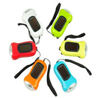 Wholesale mini flashlight key chains for sale - Group buy Mini Portable Key Flashlight Strong light Hand Crank Dynamo LED Solar Powered Camping Torch Pure Color wl bb