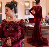 Wholesale Black Velvet T Shirt - Burgundy Fashion Velvet Mother Of Bride Dresses Long Sleeves Beads Crystals Mother's Dresses Wedding Party Gown Groom Mom Evening Dresses