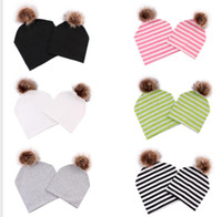 Wholesale newborn beanies skulls for sale - Group buy Family Matching hat Solid Color Stripe Girls Newborn Baby Mom Dad Matching Hat with Pompom Beanie Winter warm soft outdoor caps KKA6010
