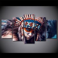 freie malerei nackte mädchen großhandel-HD Gedruckt 5 Stück Leinwand Kunst Feder Mädchen Malerei Wandbilder für Wohnzimmer Wohnkultur Freies Verschiffen NY-7264B