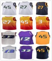 Wholesale Rainbow Jersey - male 2018 city style Basketball Jerseys 45 Donovan Mitchell 27 Rudy Gobert 32 Karl Malone 12 John Stockton Bule white rainbow yellow