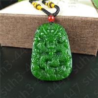 chinesische jade drachen anhänger großhandel-Chinesischer grüner Jade-Drache-hängende Halsketten-Charme-Schmuck-Mode-Accessoires