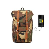 камуфляжный компьютер оптовых-Canvas Backpack Women's Daypack Backpack Men USB Laptop Computer Bags for Travel camouflage Unisex Casual Design
