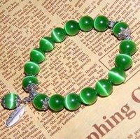 grünes opal perlenarmband großhandel-Echte natürliche grüne Opal Armband 10mm runde Perlen mit silbernen Kristallarmbänder