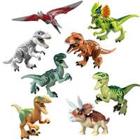 juguete dinosaurio tiranosaurio rex al por mayor-Jurassic Dinosaur World T-Rex Carnotaurus Tyrannosaurus Pterosaur Raptor Dilophosaurus Triceratops Juguete de bloques de construcción para niño Tamaño pequeño