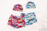 Wholesale Wholesale Baby Boy Swimwear - Boys Bathing Trunks Swimwear Shorts Boys Trunks Summer Cartoon Fish Printed Baby Kid Child Swimming Swimsuit With Cap