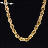 sarı kristal kolye toptan satış-Uodesign Hiphop Mens 24 K Sarı Altın Fransız Halat Zincir Kolye 75 cm Uzun Hip Hop Kolye