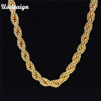 b17699add587f Uodesign Hiphop Mens 24K Yellow Golden French Rope Chain Necklace 75cm Long  Hip Hop Necklace