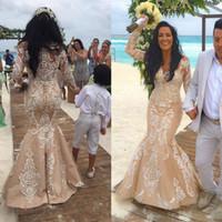 más tamaño corsés mangas al por mayor-2018 NUEVA Playa de encaje Champagne Mangas largas Corsé Vestidos de boda Vintage Crew Plus Size Bling Estilo árabe Vestidos de novia personalizados enojado