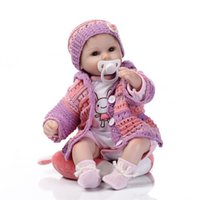 Wholesale vinyl clothes - Wholesale 17 Inches Lifelike Silkworm Reborn Baby Soft Silicone Vinyl Real Touch Doll Lovely Newborn Baby Rabbit Clothes Free Shipping