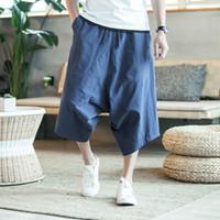 calças compridas entrepernas venda por atacado-Homens Ampla Crotch Harem Pants Soltas Verão Grande Cropped Calças Largas-Long Bloomers Estilo Chinês Flaxen Folgado Novo
