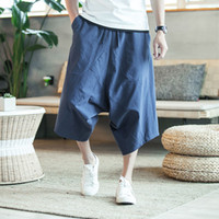 Wholesale wide crotch pants for sale – dress Men Wide Crotch Harem Pants Loose Summer Large Cropped Trousers Wide Legged Bloomers Chinese Style Flaxen Baggy New