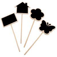 nummer blumen-design großhandel-Haus Design Holztafel Tafel mit Stock Blume Blumentopf Label Tag Zeichen Holz Einsatz Tischnummer Zeichen Holz Handwerk