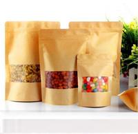 Wholesale window kraft brown bags for sale - Group buy Food Moisture proof Bags Window Bags Brown Kraft Paper Doypack Pouch Ziplock Packaging for snack Cookies
