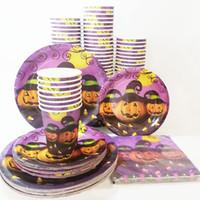 kinder papier gläser großhandel-Partyzubehör Halloween Thema Party Kinder Party Geschirr Set, Pappteller Geschirr und Tassen Gläser 0283