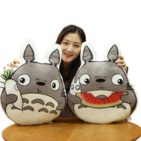 Wholesale totoro pillows - 50CM Japan Anime Totoro Plush Pillows Stuffed Soft Cartoon Animal Toys Dolls for Kids Baby Cute Brirthday Gift Doll Cushion LA092