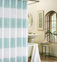 marine vorhänge großhandel-Memory Home 100% Polyester Duschvorhang Breite Streifen Stoff Duschvorhang Türkis Marineblau Beige (Türkis) 66x72inch
