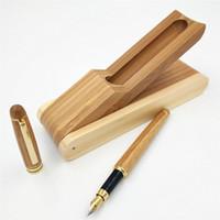 ingrosso penna stilografica finanziaria-1 PZ Penna stilografica in legno di alta qualità di lusso penna inchiostro Iraurita 0.5mm pennino Caneta Cancelleria forniture per ufficio GB04