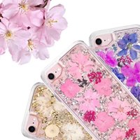 Wholesale Dried Petals - For Samsung S9Plus Creative Customize Mobile Shell Fresh Petals Dried Flowers iPhone X Simple Cover