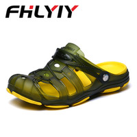 Wholesale summer breathable jelly shoes - 2018 New Arrival Men Summer Beach Slipper Breathable Water Sandals Male Gardening Shoe Hollow Out Beach Flip Flops Jelly Sandals