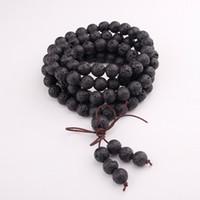 ingrosso fili neri-108 pz nero braccialetto di perline multistrato 8mm naturale pietra vulcanica braccialetto buddismo tallone gioielli accessori all'ingrosso fili spedizione gratuita