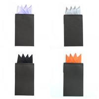 Wholesale children hankies - Creative Pre Fold Paper Card Pocket Square Solid Color Fashion Men Suit Hanky For Party Wedding Groom Insert Hand Kerchief 25 87mz Z