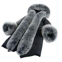 Wholesale Real Mink Fur Coats Women - Very Warm Real Fox Fur Collar Winter Fur Coat Women New European Style Women Coat Winter Mink Warm Female Outerwear