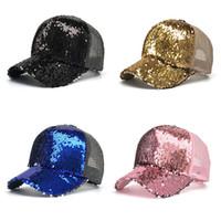 sombreros de lentejuelas gorras al por mayor-Gorra de béisbol con cola de caballo Lentejuelas Sombrero de malla brillante Sombreros para el sol Adultos Niños Gorra de béisbol Glitter Sombreros espumosos 6 colores C4340