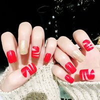 ingrosso inchiodi acrilici completi-24pcs False Acrylic Design Falso French Full Nails Art Set Red Nail Tip artificiale