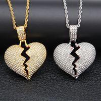 erkekler için kolyelere bayılır toptan satış-Buzlu out Kırık Aşk Kalp Kolye Kolye erkek Bling Kristal rhinestone Kadınlar Için Aşk charm Altın Gümüş Bükülmüş zincir Hip hop Takı
