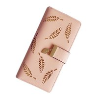 Wholesale Beautiful Note Cards - Wholesale- QICAI.YANZI Hollow Out leaf Women Wallet long HASP PU Leather Women Purse Ladies Wallet Clutch Korean Beautiful Card Holder P439
