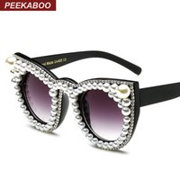 designer-sonnenbrille perlen großhandel-Peekaboo Fashion Luxus Strass Katzenauge Sonnenbrille Frauen Markendesigner übergroße Katze Sonnenbrille Perle Damen Party schwarz