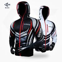 Wholesale anti uv jacket online - Men Shimano Fishing Clothing Long Sleeve Outdoor Breathable Fishing Shirts Anti UV Hooded Fishing Clothes Cycling Hiking Jackets