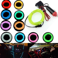 Wholesale 12v el wire car for sale - Group buy Car Cigarette Lighter Plugs V M M M M LED light Colors EL Wire Tube Rope Flexible Neon Cold Light Car Decor