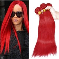 Wholesale red remy indian hair weft resale online - Straight Human Hair Bundles Red Color Peruvian Indian Malaysian Mongolian Brazilian Double Weft Virgin Hair Extensions Non Remy Red Hair