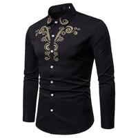 gota envío blusa al por mayor-Nueva manga larga de los hombres del otoño de lujo de oro ocasional del bordado camisa de manga larga blusa superior envío de la gota