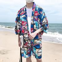 Wholesale japanese man s kimono for sale - Japanese Manga Full Printed Open Stitch Kimono Jacket Men Summer Thin Loose Style Sun Proof Men s Jacket