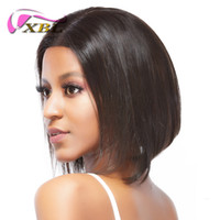 Wholesale Human Hair Middle Part Wigs - xblhair new bob wig virgin human hair middle part 10 inch silky straight front lace wig