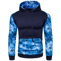 nouvelle angleterre hoodies achat en gros de-Nouveau Hommes Bleu Léopard À Capuche Nouveauté Patchwork Imprimé À Manches Longues Manteau Angleterre Style Casual Hoodies Pour Automne Printemps