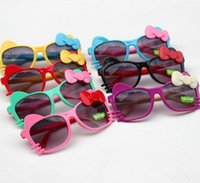 Wholesale beach sunshade sunglasses resale online - Children Girls Boys Sunglasses Kids Beach Supplies cat Eyewear Baby Fashion cute bow cat Sunshades Glasses KKA4064