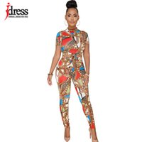 94adc9313d7c IDress Sexy Bodycon Long Pants Jumpsuit Women Summer Casual Ladies Two  Piece Outfits Rompers Elegant Chain Print Long Jumpsuit. 36% Off