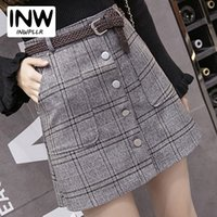 All'ingrosso-2017 New Autumn Skirts Womens Fashion Plaid Gonna Femme Single Breaste Faldas Donna Casual Marrone Grigio Xadrez Gonna Donna