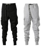 kemerli pantolonlar toptan satış-2019SS Yeni Kamuflaj Kemer Kalın Parça Pantolon Hiphop Konik Fit Çok cep Sweatpants Erkekler Kış pantolon joggers pantolon S-XXL