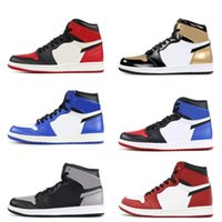 Wholesale white shadow box - 1 Chicago white red Top 3 Black Bred toe Basketball Shoes shadow Mens trainers 1s Royal Sneakers With Shoes Box Michael Sports