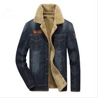 homens jeans espessamento venda por atacado-New2018 Mens Rodeo Forrado Denim Jaquetas Novos homens jaqueta e casacos de Moda mens jeans jacket Engrosse quente inverno outwear masculino M ~ 4XL