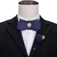 Men's Dark Blue Denim Bow Tie with White Gemstones and Exquisite Corsage Luxury Shine Lapel Pin Wedding Party freeing shipping LH-454