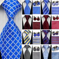 Wholesale geometric cufflinks - Suit Necktie Ties for Men Gravatas Mens Accessories Wide Silk Tie Set Geometric Plaid Business Hanky Handkerchief Cufflinks SNT
