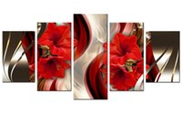 Wholesale flowers pieces arts painting pictures resale online - Canvas Wall Art Red Lily Flower Picture Print on Canvas Painting Wall Art for Home Living Room Bedroom Decor Unframed Piece Artworks Gifts