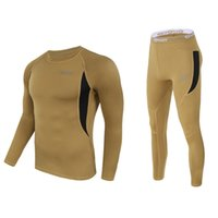Wholesale Thermo Underwear Set - Fleece Thermal Underwear Set Outside Suit Tactical Tight Men Thermo Pullover Long Sleeve Army Winter Fast-drying Corsets